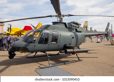 MARRAKECH, MOROCCO - APR 28, 2016: United Arab Emirates Air Force Bell 407 attack helicopter on display at the Marrakech Air Show