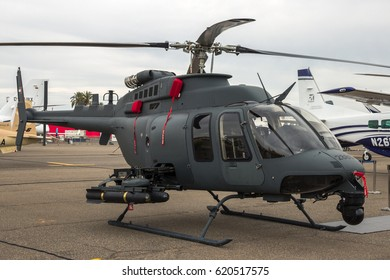 MARRAKECH, MOROCCO - APR 28, 2016: United Arab Emirates Air Force Bell 407 attack helicopter  at the Marrakech Air Show
