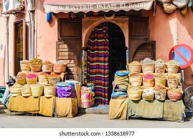 MARRAKECH, MOROCCO - APRIL 12, 2017: Colorful spices in a local shop in the Medina of Marrakech, Morocco