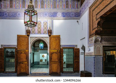 MARRAKECH, MOROCCO - APRIL 12, 2017: Interior of Dar Si Said Palace in the Medina of Marrakech, Morocco