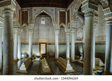 MARRAKECH, MOROCCO - APRIL 12, 2017: Columns in the Saadian Tombs in the Medina of Marrakech, Morocco
