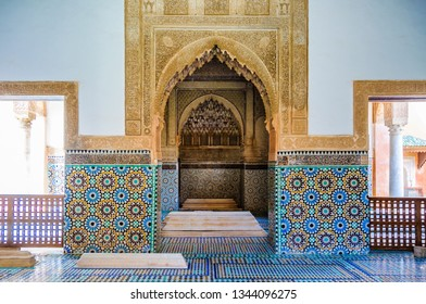 MARRAKECH, MOROCCO - APRIL 12, 2017: Decorated interior in Saadian Tombs in the Medina of Marrakech, Morocco
