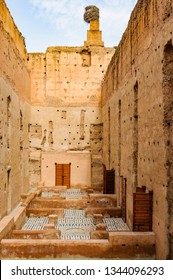 MARRAKECH, MOROCCO - APRIL 12, 2017: The interior of Badi Palace in the Medina of Marrakech, Morocco
