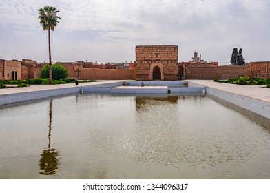 MARRAKECH, MOROCCO - APRIL 12, 2017: Reflection in the pool in  Badi Palace in the Medina of Marrakech, Morocco