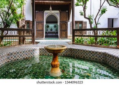 MARRAKECH, MOROCCO - APRIL 12, 2017: Fountain in Dar Si Said Palace in the Medina of Marrakech, Morocco