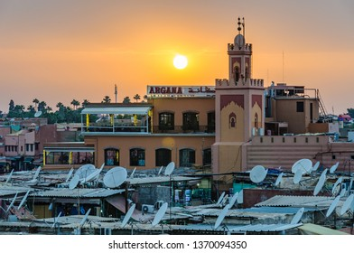MARRAKECH, MOROCCO - APRIL 12, 2017: Sunset at UNESCO World Heritage Jamaa el Fna market square, Marrakesh, Morocco, north Africa