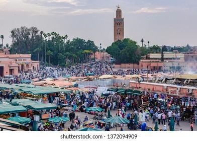 MARRAKECH, MOROCCO - APRIL 12, 2017: UNESCO World Heritage Jamaa el Fna market square, Marrakesh, Morocco, north Africa