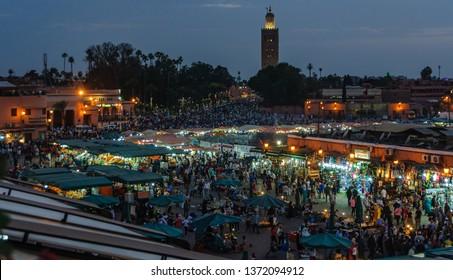 MARRAKECH, MOROCCO - APRIL 12, 2017: Night lights at UNESCO World Heritage Jamaa el Fna market square, Marrakesh, Morocco, north Africa