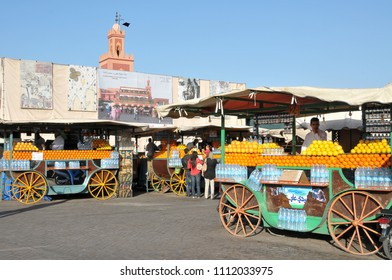 Marrakech, Morocco - april 24, 2016: Walking carts for the sale of orange juice, stationed in the center of the Jemaa el Fna square, in the historic center of the city