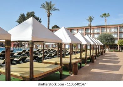 Marrakech, Morocco - april 24, 2016: Terrace and pool inside a luxury hotel in the Ville Nouvelle on the outskirts of the old city