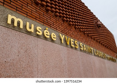 Marrakech, Morocco - April 5, 2019: Details of the Yves Saint Laurent Museum in Marrakech, Morocco.