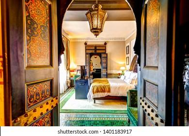 Marrakech, Morocco - April 6, 2019: Interior of a suite at La Mamounia resort in Marrakech Morocco.