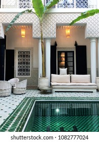 Marrakech, Morocco - April 9 2018: Interior of Riad Yasmine