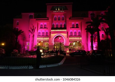 MARRAKECH, MOROCCO - CIRCA MARCH 2018 Sofital Marrakech Palais Imperial and fountain at night