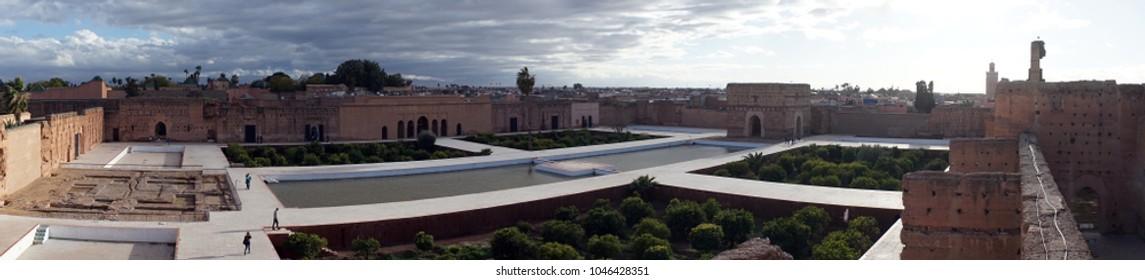 MARRAKECH, MOROCCO - CIRCA MARCH 2018 Inside El Badi Palace