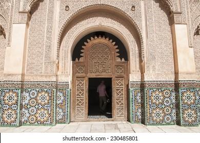 MARRAKECH, MOROCCO - CIRCA SEPTEMBER 2014: The Ben Youssef Madrasa circa September 2014 in Marrakech.