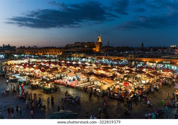 Marrakech, Morocco - Circa September 2015 - sunrise over marrakechs central place djemaa el fna