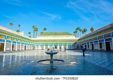 MARRAKECH, MOROCCO - DECEMBER 11: Backyard of Bahia palace and water fountain in Marrakech. December 2016
