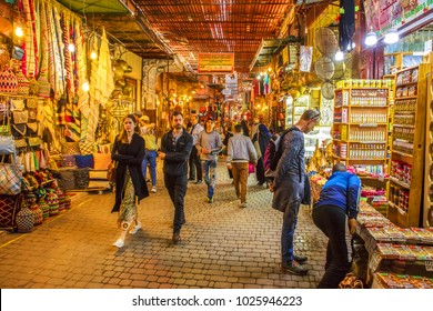 MARRAKECH, MOROCCO - DECEMBER 24, 2017: Souk, the traditional Berber market is one of the most important attractions of the city Marrakesh, Morocco