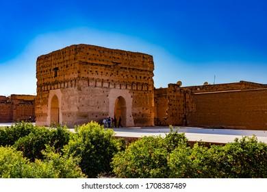 Marrakech, Morocco - December 25, 2017: El Badi Palace or Palais El Badii in Marrakech, Morocco
