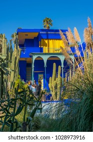 MARRAKECH, MOROCCO - DECEMBER 26, 2017: The beautiful Majorelle Garden is a botanical ,tropical garden and artist's landscape garden in Marrakech