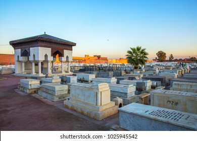 Marrakech, Morocco - December 28, 2017: Jewish cemetery in Marrakech's medina (old town).Marrakesh, Morocco