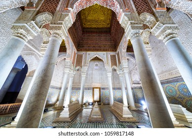 Marrakech, Morocco - December 30, 2017: The room with the twelve columns in Saadian Tombs. These tombs are sepulchres of Saadi Dynasty members and are a major attraction for visitors in Marrakech