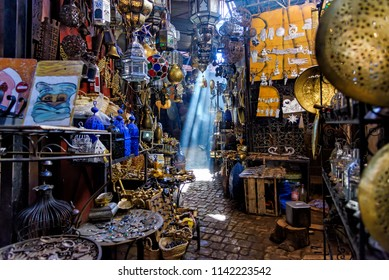 Marrakech, Morocco - December 30, 2017: A Narrow passage in the Souk Haddadine. A souq or souk is a marketplace or commercial quarter in Western Asian, North African and some Horn African cities