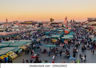 Marrakech, Morocco - December 8, 2018: Jamaa el Fna market square. Jemaa el-Fnaa, Djema el-Fna or Djemaa el-Fnaa is a famous square and market place in Marrakech's medina quarter.