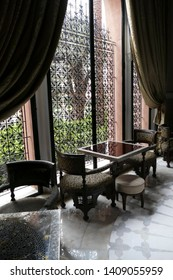 MARRAKECH, MOROCCO - FEB 18, 2019 - Sitting area in a luxury hotel, Royal Mansour, Marrakech,  Morocco, Africa