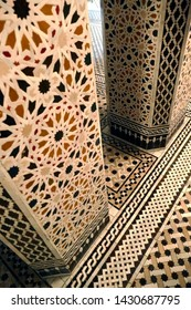 MARRAKECH, MOROCCO - FEB 18, 2019 - Mosaic tile columns in luxury hotel suite, Royal Mansour, Marrakech,  Morocco, Africa