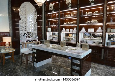 MARRAKECH, MOROCCO - FEB 18, 2019 - Beauty station in the hamam spa of a luxury hotel, Royal Mansour, Marrakech,  Morocco, Africa
