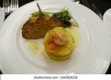 MARRAKECH, MOROCCO - FEB 18, 2019 - Shrimp, appetizer at gourmet restaurant in Movenpick Hotel, Marrakech,  Morocco, Africa