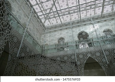 MARRAKECH, MOROCCO - FEB 18, 2019 - Delicate screens in the hamam spa of a luxury hotel, Royal Mansour, Marrakech,  Morocco, Africa