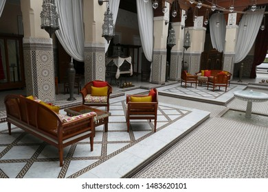 MARRAKECH, MOROCCO - FEB 18, 2019 - Sitting area lounge at a luxury hotel , Royal Mansour, Marrakech,  Morocco, Africa