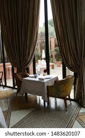 MARRAKECH, MOROCCO - FEB 18, 2019 - Dining room at a luxury hotel , Royal Mansour, Marrakech,  Morocco, Africa