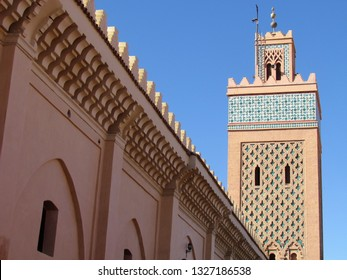 Marrakech, Morocco - February, 24th 2019: Views of the Moulay El Yazid Mosque in the old Medina of Marrakech with the unique patterns of Moroccan mosques