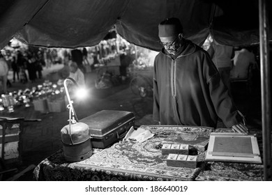 MARRAKECH, MOROCCO - FEBRUARY 28: traditional store on streets on February 28, 2014. With a population of over 900,000 inhabitants it is the most important city in Morocco.