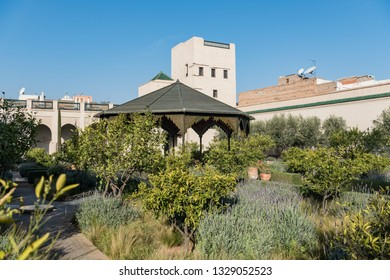 MARRAKECH, MOROCCO - FEBRUARY 7, 2019: Walled courtyard garden within the medina, Marrakesh, Morocco.  Secret Garden, Marrakesh.