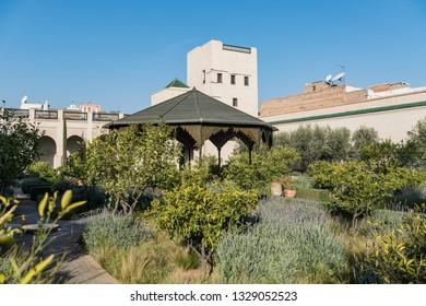 MARRAKECH, MOROCCO - FEBRUARY 7, 2019: Walled courtyard garden within the medina, Marrakesh, Morocco.  Secret Garden, Marrakesh.