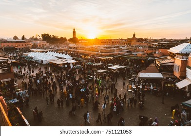 Marrakech, Morocco- February 8, 2015: Aerial view of crowded Jemaa el Fnaa square at sunset in Morocco