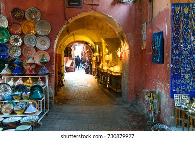 Marrakech, Morocco - Jan 12, 2017: Morocco souvenirs on the market in medina
