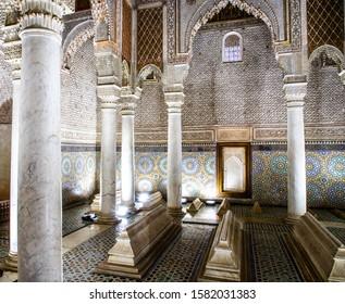 MARRAKECH, MOROCCO, JAN 15, 2019: the Saadian tombs mausoleum in Marrakech, Morocco