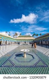 MARRAKECH, MOROCCO - January 28 2019: Inside interior of the beautiful ancient Bahia Palace, one of the main attractions of Marrakesh. Courtyard in traditional Moroccan style