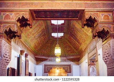 Marrakech, Morocco - June 2018: El Bahia Palace museum interior