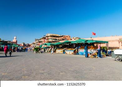 Marrakech, Morocco - June 3, 2018: Jamaa el Fna (Jemaa el-Fnaa, Djema el-Fna or Djemaa el-Fnaa) square.