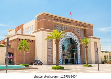Marrakech, Morocco - June 5, 2018: Entrance to Marrakesh railway station (Gare de Marrakech).