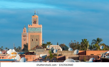 Marrakech / Morocco - Mach 24, 2018: Skyline of the city with two minarets.