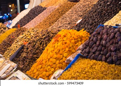 Marrakech, Morocco - March 22, 2016: Goods on the market. This is one of most known markets in Morocco.