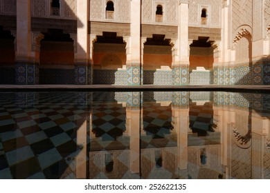 MARRAKECH, MOROCCO, MAY 10, 2013 : The Ben Youssef Madrasa was an Islamic college in Marrakesh, Morocco, named after the Almoravid sultan Ali ibn Yusuf (reigned 1106 to ??1142)
